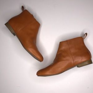 Gap Cognac Brown Soft Leather Ankle Boots Sz 7